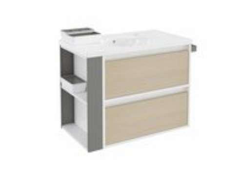 Bath + lavabo con 2cassetti e lavabo in porcellana Bsmart Rovere/Bianco/Grigio