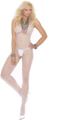 Costume Adventure Women's White Plus Size Valentines Day Fishnet Bodystocking