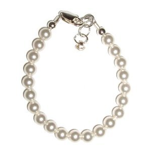 Serenity Sterling Silver Childrens Girls Bracelet Jewelry Her first Pearls! Simply beautiful sterling silver bracelet featuring a strand of georgeous Czech pearls. Size Small Baby Infant 0-12 months. Perfect for Christmas, First Communion, Easter, Sunday Dress or Birthday.