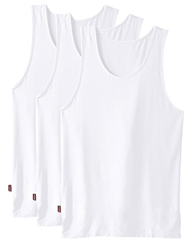 David Archy Men's 3 Pack Soft Bamboo Undershirts Tank Top(L,White) (Undershirt Tank compare prices)