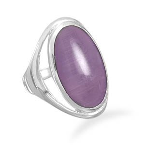 Sterling Silver Purple Cat's Eye Ring / Size 10