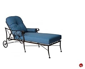 Grid outdoor wrought iron adjustable chaise for Black wrought iron chaise lounge
