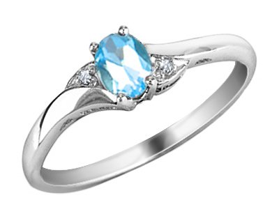 Blue Topaz Ring with Diamonds in 10K White Gold, Size 10