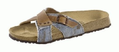 Cheap Birkis slippers Andra in size 36.0 N EU made of Leather/Textile in Brown/Denim Blue with a narrow insole (B005Q74RTW)