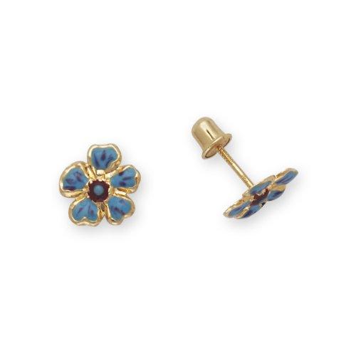 Baby Earrings Flowers 14k Yellow Gold