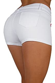 Basic Short Shorts Premium Stretch French Terry Moleton With a gentle butt lifting stitching in White Size M