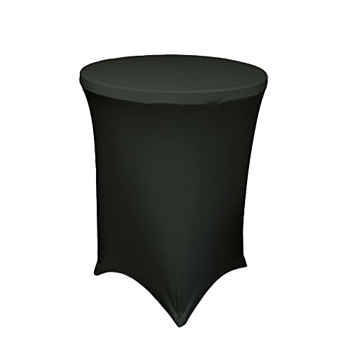 LA Linen Cocktail Spandex Fitted Stretchable Elastic Tablecloth, 36-Inch, Black (Cocktail Table Tablecloth compare prices)