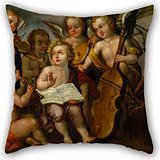 Alphadecor Pillow Cases Of Oil Painting Juan Correa - The Infant Jesús With Angelic Musicians 20 X 20 Inches / 50 By 50 Cm,best Fit For Outdoor,sofa,car,living Room,kids Room,kitchen Twice Sides (Marvel Magic Mystery Oil compare prices)