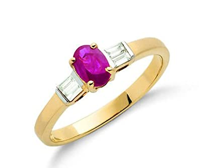 9ct Yellow Gold Real Ruby Ring With Diamond Baguettes 0.71ctw