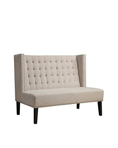 TOV Furniture Halifax Linen Banquette Bench, Beige