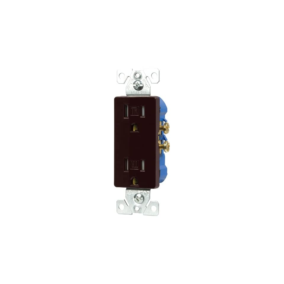 Cooper Wiring Devices Tr1107b Box Tamper Resistant Decorator Duplex 15 Amp Usb Charging Electrical Outlet Receptacle Brown