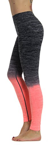 Prolific Health Fitness Power Flex Yoga Pants Leggings - All Colors - XS - XL (Medium, Gray/Peach Ombre)