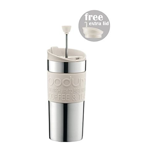 Bodum Coffee Travel Press With Extra Lid Stainless Steel - Off White - 0.35 L, 12 Oz (Circle Grill Press compare prices)