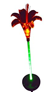 Solar Lily Flower Garden Light with Green-lit Stem; 1 Stake Light