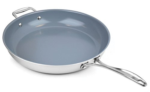 Zwilling J.A. Henckels Spirit Stainless Steel Ceramic Nonstick Skillet with Helper Handle 14-inch (14 Ceramic Frying Pan compare prices)