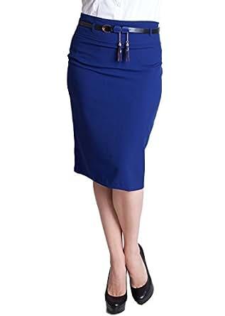 royal blue plus size tassel belt zipper back pencil