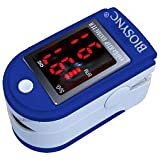 Biosync Finger Pulse Oximeter & Heart Rate Monitor w/ Instructions, Lanyard & Case - Dark Blue