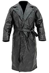 Genuine leather Trench Coat Style (Black/Large)