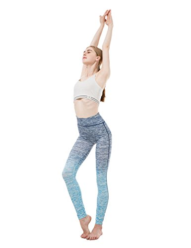 Workout Leggings Yoga Pants for Women Girls Elastic High Waist Active Leggings in Pink Grey Blue Ombre Colors Fit for Size S/M, (Nblue)