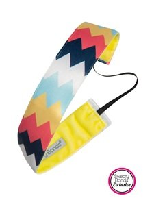 "Sweaty Bands - Chevron Shuffle - #1 Fitness Headband! (Navy Coral Yellow 1.5"")"