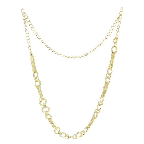 Women Hoop Multi Strand Links Gold Tone Metal Cinch Waist Chain