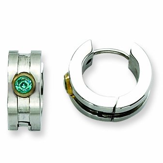 Genuine Chisel (TM) Earrings. Stainless Steel Teal CZ Stone & Gold-plated Hinged Hoop Earrings. 100% Satisfaction Guaranteed.