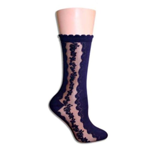 Navy Blue Floral Clock Trouser Socks