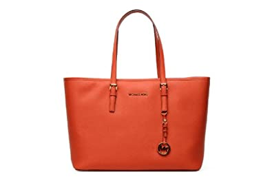 Michael Kors Women's Medium Travel Leather Shoulder Tote - Mandarin