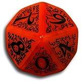 1 (One) Single D10 Q Workshop: Carved Elvish / Elven D10 Dice / Die (Red & Black)