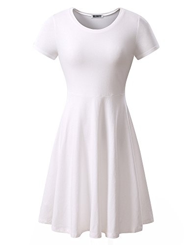 Women Short Sleeve Round Neck Summer Casual Flared Midi Dress Large White