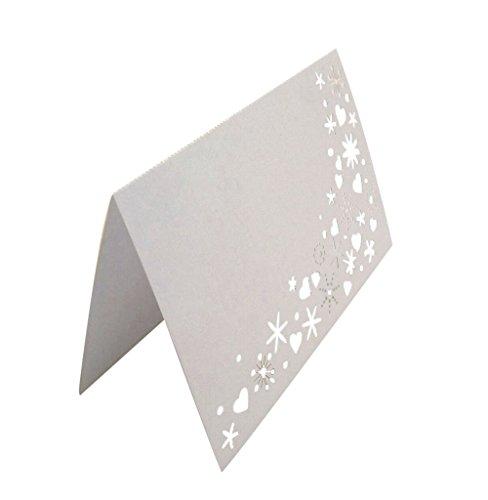 【ノーブランド 品】50枚セット 花火柄 レーザーカット 真珠光沢紙 切り紙 中空 テーブル装飾 席札 カード 結婚式 白