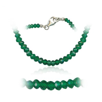36.00 Cts Faceted Green Onyx Bead Necklace in Sterling Silver