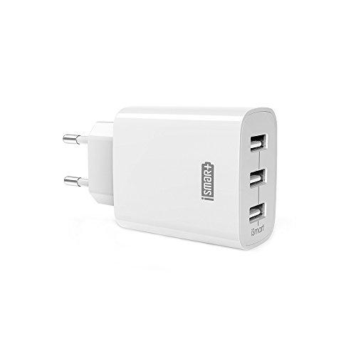 Chargeur USB Secteur 3 Ports Universel Secteur Mural RAVPower (24W/5V 4,8A max) avec Technologie de Charge iSmart, Adaptateur Secteur USB pour Apple iOS, Android, Appareils Portable Windows, etc. - Blanc