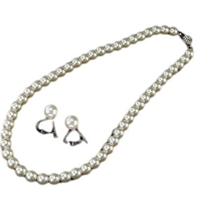 Formal Pearl 8 mm 16 inch (necklace & earrings white color set)