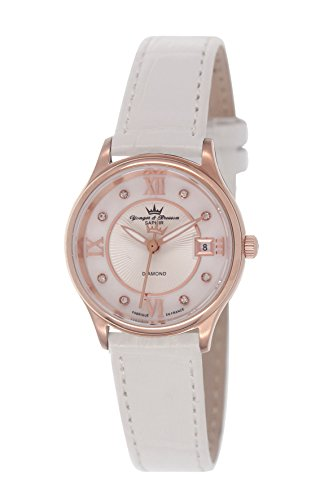 Yonger & Bresson - DCR 1688/02 Ladies Watch - Analogue Quartz - White Dial and White Leather Bracelet - Pink