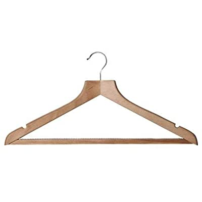 Deluxe Shaped Solid Beech Suit Hanger with Non-Slip Trouser Bar with Notches