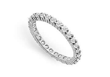 Cubic Zirconia Eternity Band .925 Sterling Silver - 0.75 CT TGW MADE IN USA