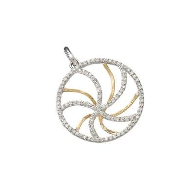 New Fashion Necklace Pendant Jewelry 925 Sterling Silver One-Side GP Swirls and One-Side CZ Swirls Circle Design(WoW !With Purchase Over $50 Receive A Marcrame Bracelet Free)