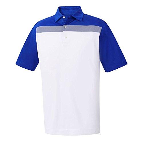 FootJoy Athletic Fit Birdseye Colorblock Polo White Royal Large
