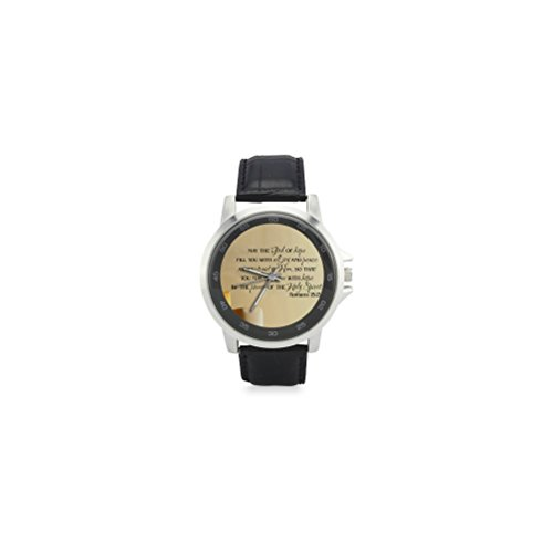 Special-Design-Christian-Bible-Verse-Renaissance-Collection-Christian-Religious-Gift-Custom-Unisex-Stainless-Steel-Leather-Strap-Watch-Metal-Case-Tempered-Glass-Black-Leather-Band