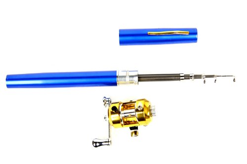 Telescopic Saltwater 39Inch Fishing Rod Blue Pen Pole Reel Nylon Line