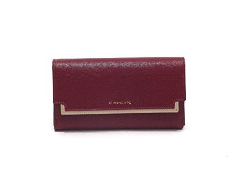 Roncato portafoglio donna, Claire 411831-09, portafoglio multiscomparto in pelle saffiano, colore bordò beige