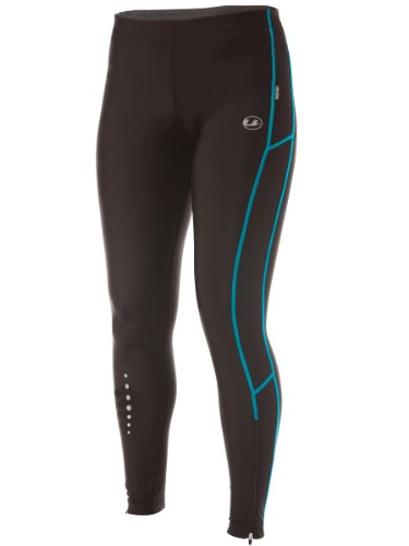 Ultrasport Women's Long Quick-Dry-Function Running Tights - Black/Turquoise, X-Small