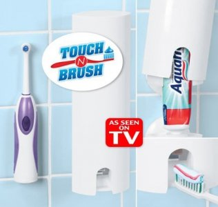 Touch N Brush Hands Free Tooth Paste Dispenser Chrome
