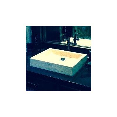 Angled Flow Rectangular Natural Stone Vessel Bathroom Sink Sink Finish: Beige