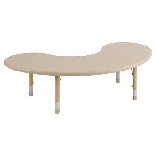 """Ecr4Kids Resin Adjustable Activity Table, 65"""" Kidney, Desert Sand front-978888"""