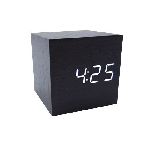 Tna Cube Wood Led Alarm Clock - Time Temperature Date - Sound Control - Latest Generation