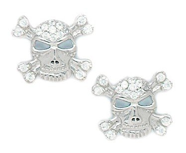 14ct White Gold CZ Big Skull Fancy Post Earrings - Measures 13x14mm