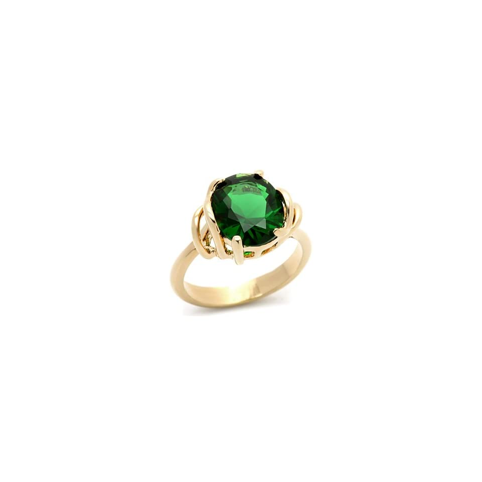 Gold CZ Rings   Oval Emerald Green CZ Ring