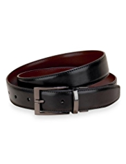 Gunmetal Rectangular Buckle Prong Reversible Belt